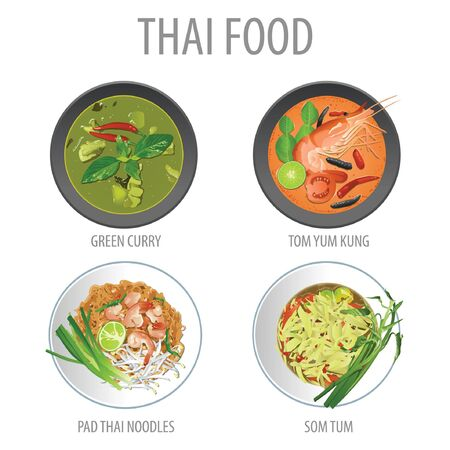 Bundle of famous Thai food,realistic with top view style,vector illustration