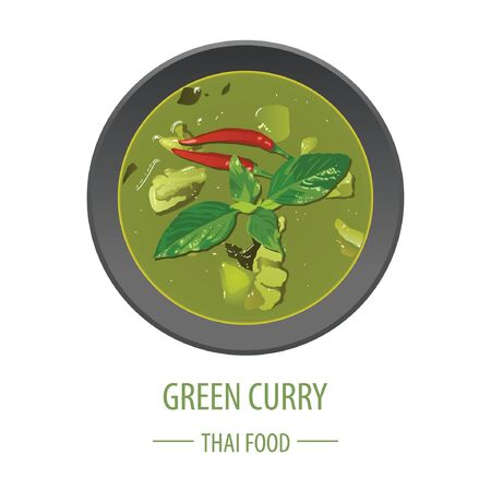 Green Curry famous Thai food,realistic with top view style, vector illustration Illustration