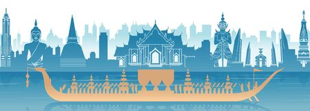 Thailand famous landmark in scenery design and royal Thai boat silhouette design in blue and orange yellow color, vector illustration Ilustrace