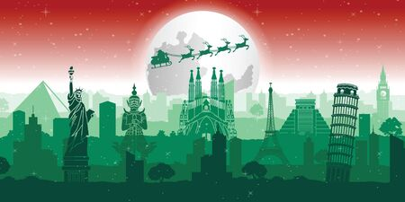 santa claus and reindeer are above world famous landmarks with christmas theme colors, vector illustration Ilustrace