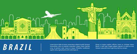 Brazil famous landmark with blue and white color design,vector illustration Ilustrace