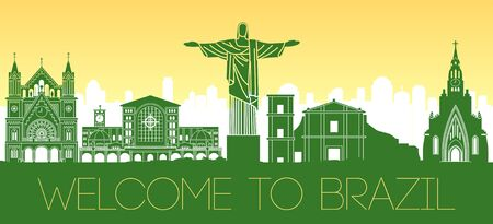 Brazil famous landmark with national flag color design,vector illustration Ilustrace