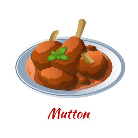 mutton curry is delicious and famous food of Halal in colored gradient design icon, vector illustration