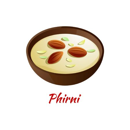 Phirni or Kheer is delicious and famous dessert of Halal in colored gradient design icon, vector illustration