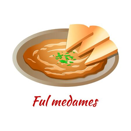Ful Medames is delicious and famous food of Halal in colored gradient design icon, vector illustration