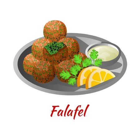Falafel is delicious and famous food of Halal in colored gradient design icon, vector illustration