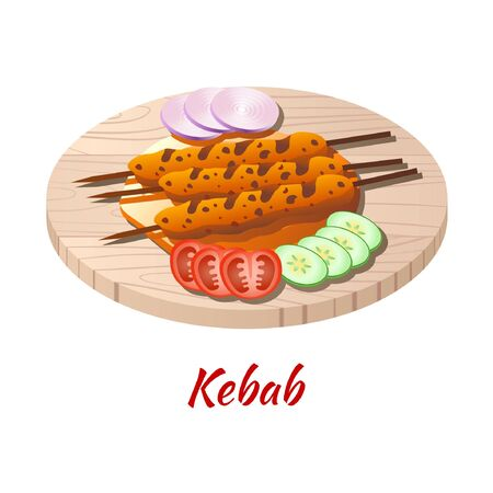 Kebab is delicious and famous food of Halal in colored gradient design icon, vector illustration