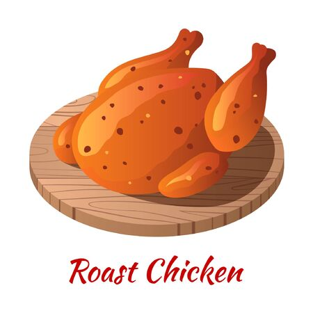Roast chicken is delicious food in colored gradient design icon, vector illustration