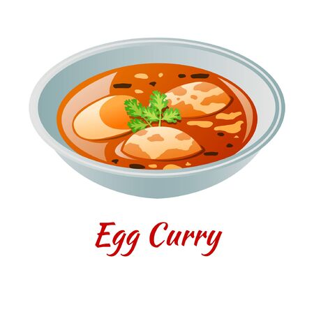 Egg curry is delicious and famous appetizer of Halal in colored gradient design icon, vector illustration