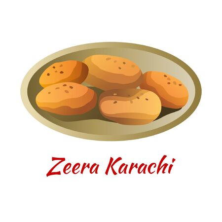 Zeera karachi is delicious and famous appetizer of Halal in colored gradient design icon, vector illustration