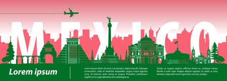 Mexico famous landmark silhouette style with country name and national flag color, vector illustration