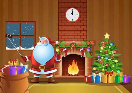 Santa Claus selfie in fireplace room in Christmas night, vector illustration