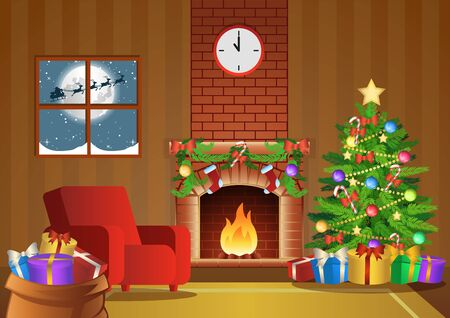 fireplace room decorate for Christmas night, vector illustration