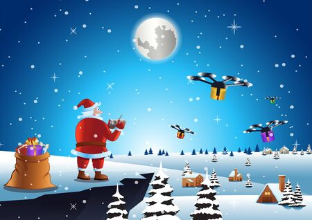 santa claus send gift to everyone by drone at village scene, vector illustration