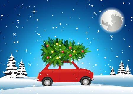 red car carry on christmas tree to decorate on big holiday in winter night, vector illustration Ilustrace