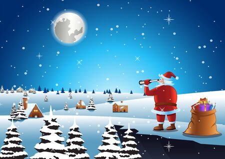 santa claus seeking for house to send gifts, vector illustration