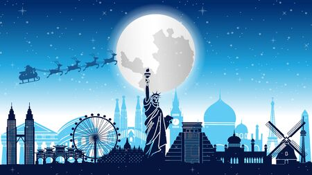 santa claus and reindeer are above world landmarks, vector illustration