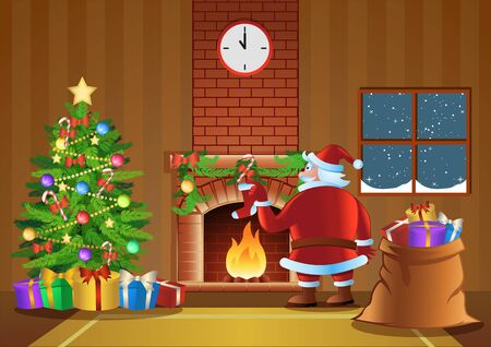 Santa Claus  send gift in fireplace room in Christmas night, vector illustration Фото со стока - 134584007