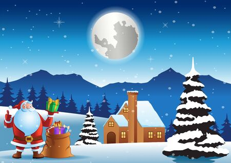 Santa claus stand in front of house with bag on Christmas night, vector illustration