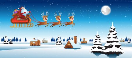 Santa claus ride sleigh with deer fly over village to send gift to everyone,vector illustration