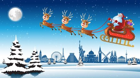 Santa claus ride sleigh with deer fly over landmarks of the world to send gift to everyone, vector illustration