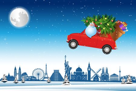 Santa Claus drive red car fly over world landmarks across snow with Christmas tree to send gifts to everyone,vector illustration