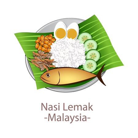 top view of popular food of national, Nasi Lemak,in cartoon vector design