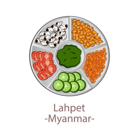 top view of popular food of national, Laphet, in cartoon vector design