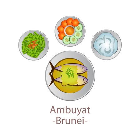 top view of popular food of national, Ambuyat, in cartoon vector design