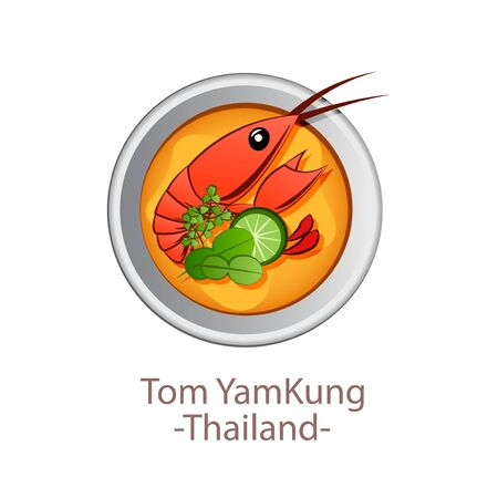 top view of popular food of Thailand, Tom Yum Kung, in cartoon vector design Ilustrace