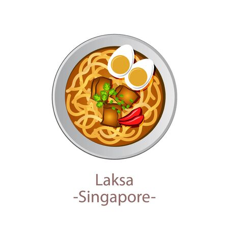 top view of popular food of national, Laksa, in cartoon vector design Ilustrace