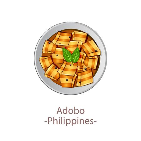 top view of popular food of national, Adobo, in cartoon vector design