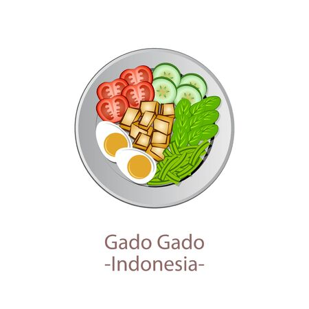top view of popular food of national, Gado Gado, in cartoon vector design Ilustrace