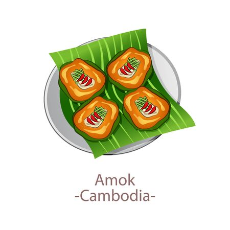 top view of popular food of national, Amok, in cartoon vector design