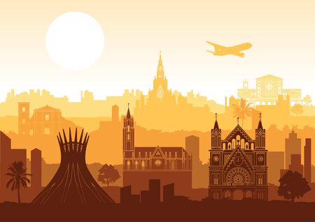 Brazil famous landmark silhouette style with row design on sunset time, vector illustration