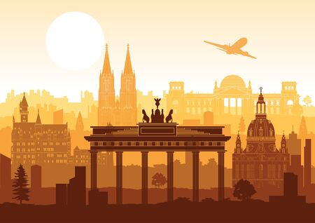 Germany famous landmark silhouette style with row design on sunset time, vector illustration Ilustrace