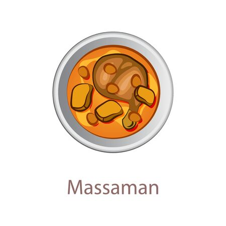 top view of popular food of Thailand, Massaman Curry,in cartoon vector design