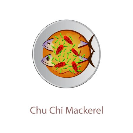 top view of popular food of Thailand, Chu Chi Mackerel, in cartoon vector design
