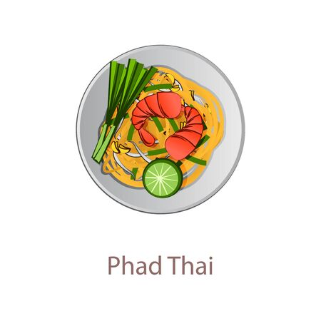 top view of popular food of Thailand, Pad Thai, in cartoon vector design