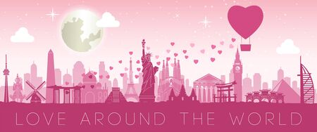 heart balloon scatter hearts that mean love to world landmarks to tell sending love to everyone, vector illustration
