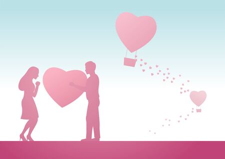man send big heart to woman meaning he fall in love her, vector illustration Фото со стока - 137140015