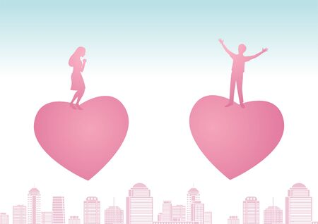 man and woman stand on big heart that flying closer each other that means love makes them be couple, vector illustration