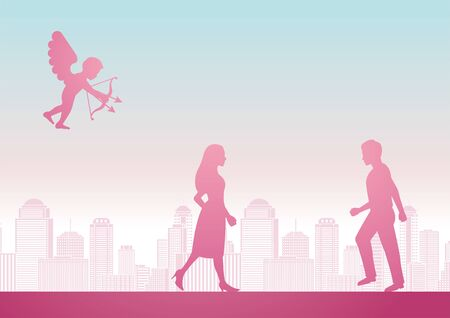 cupid shoot arrow to man and woman to become couple with pink pastel color design, vector illustration