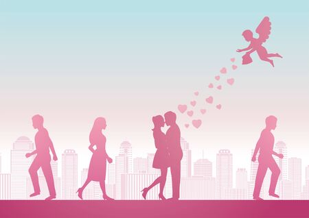 cupid send heart to man and woman to become couple with pink pastel color design, vector illustration Ilustrace