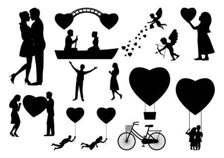 set of design element for valentines day with people in black silouette,vector illustration
