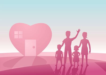 concept art of lovely and happy family with heart shape house in pink and black color by silhouette design,vector illustration Ilustrace