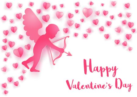concept art of cupid fly over and around with heart shapes on white background,vector illustration Фото со стока - 137228988