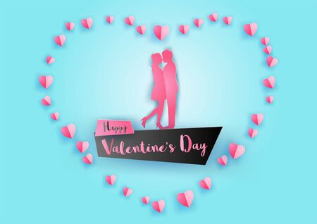 concept art of valentines day with couple hug together around with floating hearts by paper art design,vector illustration Ilustrace