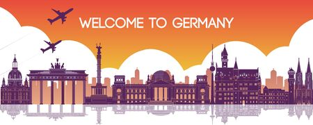 famous landmark of Germany,travel destination,silhouette design,vector illustration Ilustrace
