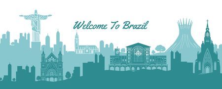 famous landmark of Brazil,travel destination with silhouette classic with national color design,vector illustration